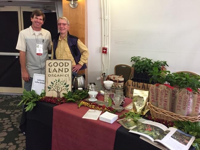 Jay Ruskey (izquierda) y Mark Gaskell, durante una degustación de café en el 2015. Ellos plantaron su primer campo cafetalero en California en el 2002.