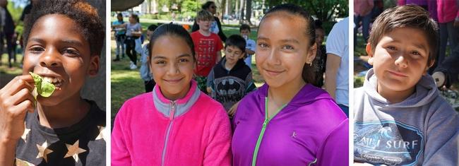 Algunos estudiantes de la primaria American Lakes dijeron que comerán en los sitios que ofrecen comidas durante el verano. De izquierda a derecha se encuentran James Dixon, de 9 años; Yahaira Ramírez, de 11;  Diana De La Cerda, de 12 y Eduardo Liscano, de 9.