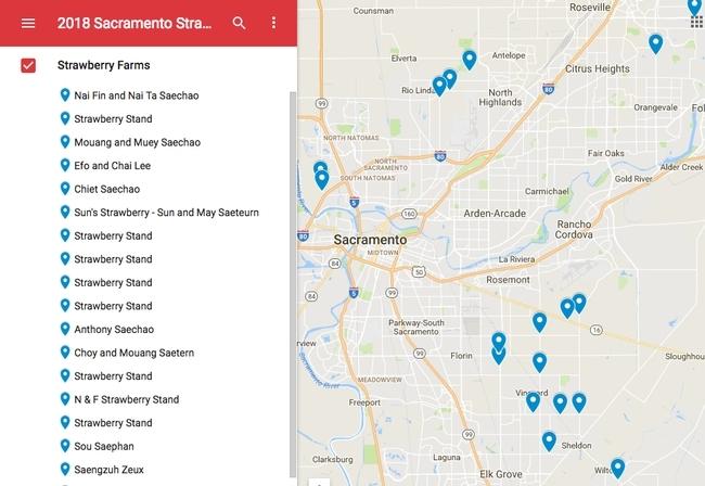 Lloyd actualizó un mapa que muestra las ubicaciones de alrededor de 60 puestos de fresas en el área de Sacramento en http://bit.ly/strawberrystands.