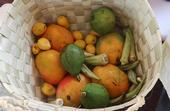 Guinea: Cesta de frutas y verduras frescas, lista para lavar y rebanar, con mangos, aguacates y okra. (Foto del Laboratorio de Innovación de Horticultura por Archie Jarman/UC Davis)