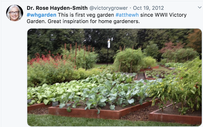 En el 2012, Hayden-Smith transmitió en vivo por Twitter su visita al huerto de la Casa Blanca.