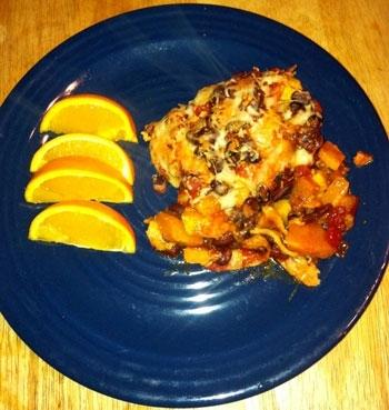 Enchiladas de calabaza butternut y frijoles negros