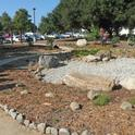The dry pond (right) at the California True Colors Garden and Learning Center.