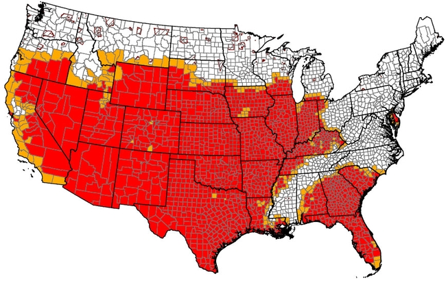USDA has designated 1,692 counties as locations of 'drought disaster incidents' in 2012.