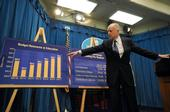 Gov. Jerry Brown shows a graphic at his press conference comparing state funding for education from 2007 to 2017. (Photo: State of California)