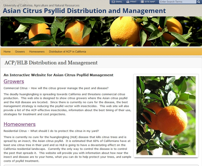 The new Asian citrus psyllid website can be found at http://ucanr.edu/sites/acp.