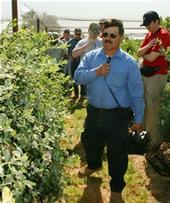Jimenez speaks at a blueberry field day.