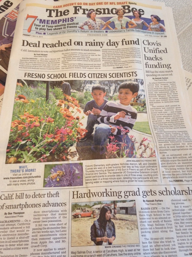 Front page of the Fresno Bee on May 9, 2014.