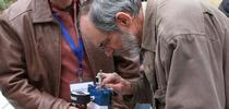 Ken Shackel (right) demonstrates a pressure chamber for ANR News Blog Blog