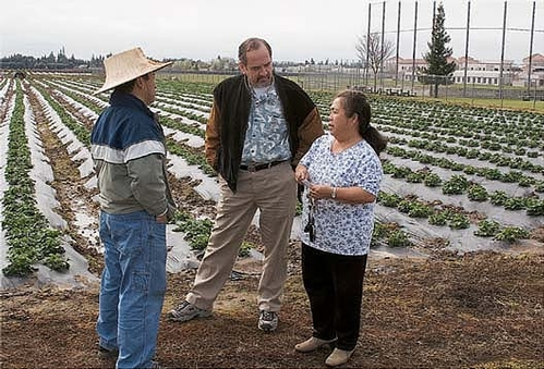 Michael Yang, left, and Richard Molinar, center, talk to a Southeast Asian farmer.