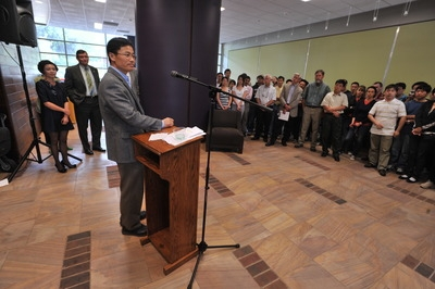 Jian-Kang Zhu speaks at a reception held in his honor at UC Riverside.