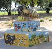 The bee sculpture in the Häagen-Dazs Honey Bee Haven at UC Davis.