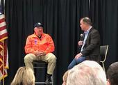 USDA Secretary Sonny Perdue, left, hosted a town hall moderated by California Farm Bureau President Jamie Johansson at World Ag Expo.