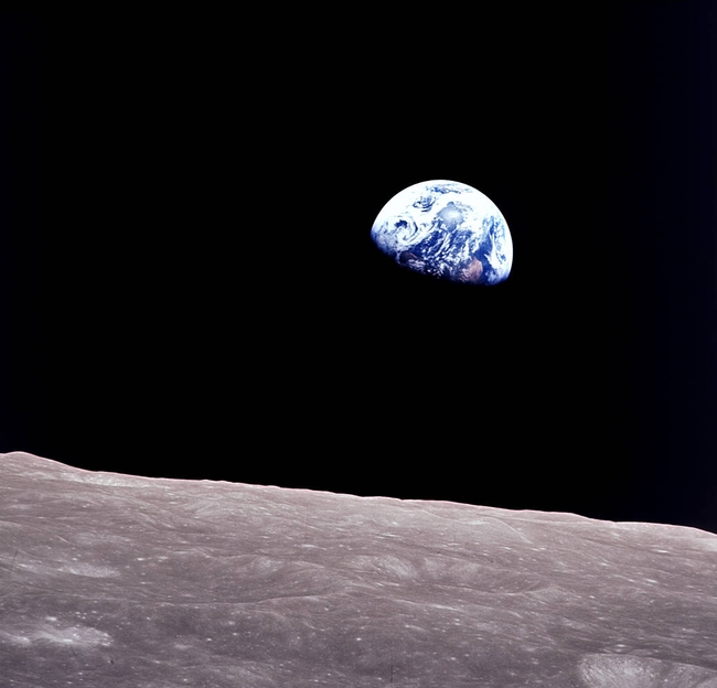 Apollo 8 astronauts captured a picture of the earthrise over the moon in 1968.