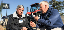Alan Wilcox, left, and Jeff Mitchell debate the challenges and opportunities for conservation tillage. (Photo by Farm Equipment magazine, used with permission) for ANR News Blog Blog