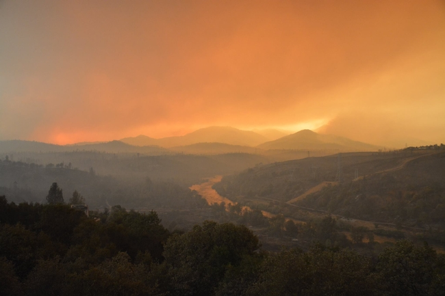 The Carr Fire lights up the sky in Shasta County on July 28, 2018. (Photo: CalFire)
