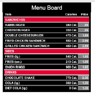 Sample menu board.