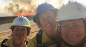 Lenya Quinn-Davidson, center, is the UC Cooperative Extension fire scientist serving Humboldt, Siskiyou, Trinity and Mendocino counties. She is pictured with Jeanne Pincha-Tulley, left, and Kelly Martin, right, at a Women-in-Fire Prescribed Fire Training Exchange session.