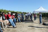 Jim Wolpert discusses the wine trial during Kearney Grape Day in August.