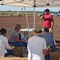 At a field day in Chico, Allan Fulton shares information on the different methods available for managing tailwater runoff from irrigated fields.