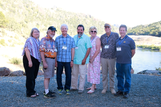 From left, Joni Rippee, McCreary, Bill Tietje, Greg Giusti, Sherry Cooper, James Bartolome and Rick Standiford at Sierra Foothill Research and Extension Center in May 2017. Photo courtesy of Rick Standiford.
