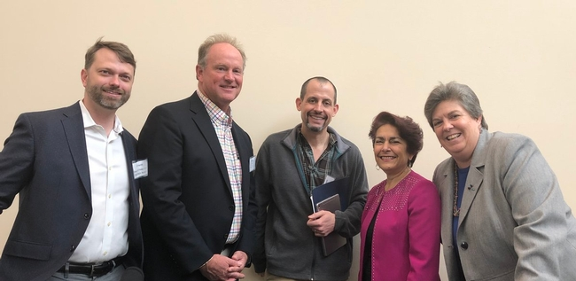From left, Jeff Payne, Fritz Durst, Cannon Michael, Anna Caballero and Glenda Humiston discussed the future of agriculture at the California Water Policy Conference.