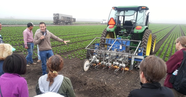 Robovator directed by little computers that scan lettuce rows cuts weeds. Photo taken by Petr Kosina during 2016 specialty crops tour.