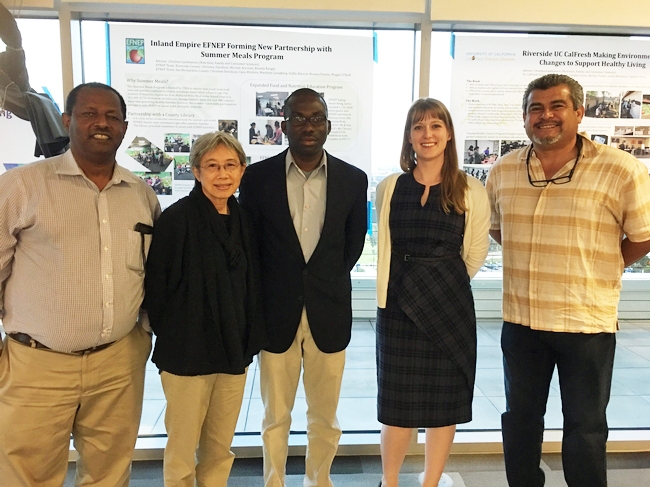 GFI fellows discussed future food systems with UCCE advisors. From left to right: Oli Bachie (Imperial County); Chutima Ganthavorn, (Riverside and San Bernardino); Laurent Ahiablame, (San Diego); Natalie Price (Los Angeles) and Ramiro Lobo (San Diego)