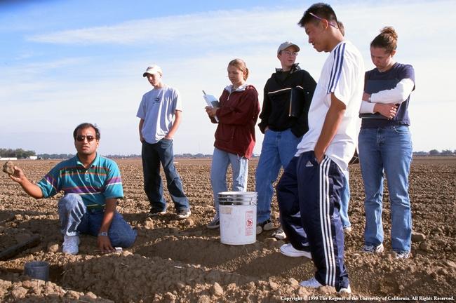 Students in plowed field