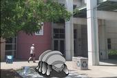An artist's conception of a tardigrade sculpture in front of the Bohart Museum of Entomology.