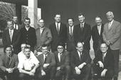 The UC Davis Department of Entomology, Feb. 3, 1970. In front (from left) are Dick Bushing, Frank Summers, Bob Schuster, Al Grigarick, Bob Washino, Harry Lange and Harry Laidlaw. In back (from left) are Charles Judson. Robbin Thorp, Vern Burton, Elmer Carlson, Oscar Bacon, Frank Strong, Don McLean, Ward Stanger and Ed Loomis. Among faculty not pictured: Stanley F. Bailey, R. M. Bohart, Warren R. Cothran, Norman Gary, G. A. H. McClelland, Howard McKenzie and Gene Stafford.