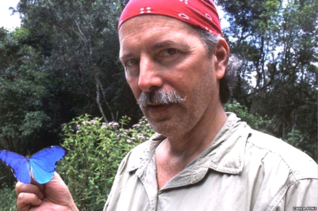 Phil DeVries with a Morpho (genus) butterfly. (Photo by Carla Penz)
