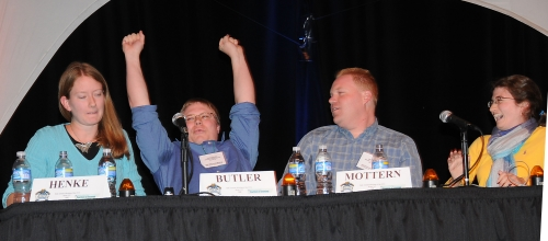 WE WON!--Casey Butler exults as he breaks the dead heat, giving UC Riverside the win in the 2008 Linnaean Games. From left are Jennifer Henke, Casey Butler, Jason Mottern and Rebeccah Waterworth at the moment they realized they'd won. (Photo by Kathy Keatley Garvey)