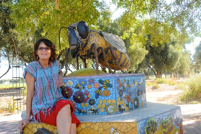 Artist-scientist Donna Billick with her sculpture of