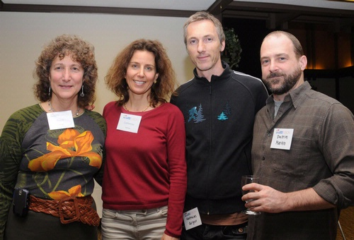 AT THE RECEPTION--From left are entomologist Diane Ullman, associate dean of Undergraduate Academic Programs, College of Agricultural and Environmental Sciences, and co-director of the UC Davis Art/Science Fusion experimental learning program; artist Catherine Chalmers; and UC Davis Department of Art faculty members Matthias Geiger and Darrin Martin. (Photo by Kathy Keatley Garvey)