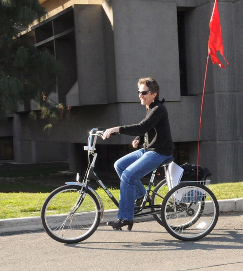 PEDALING AWAY--Birthday celebrant Lynn Kimsey, chair of the UC Davis Department of Entomology and director of the Bohart Museum of Entomology, pedals home. (A shoulder injury prompted her to temporarily trade her bicycle for this