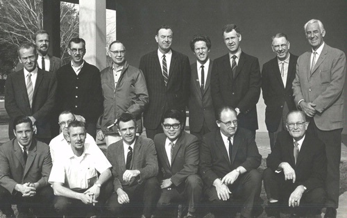 UC DAVIS ENTOMOLOGISTS IN 1970 posed for this photo. In front (from left) are  Dick Bushing, Frank Summers, Bob Schuster, Al Grigarick, Bob Washino, Harry Lange and Harry Laidlaw. 