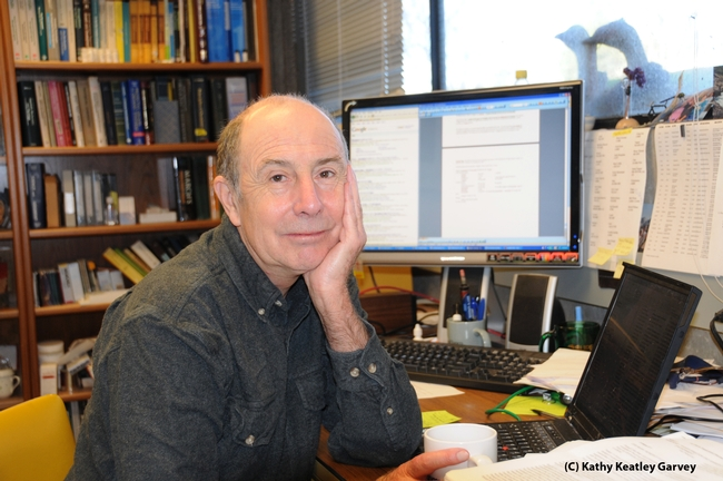 Entomologist Bruce Hammock in his UC Davis office. (Photo by Kathy Keatley Garvey)