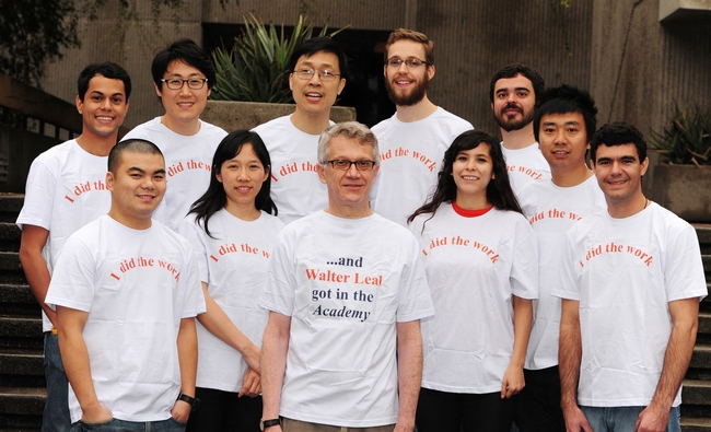 The Walter Leal lab wearing matching t-shirts. See caption at end of the blog. (Photo by Kathy Keatley Garvey)