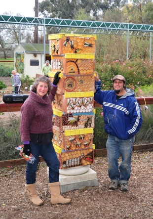 Professional ceramic mosaic artist Mark Rivera with entomologist/artist Diane Ullman. (Photo by Kathy Keatley Garvey)