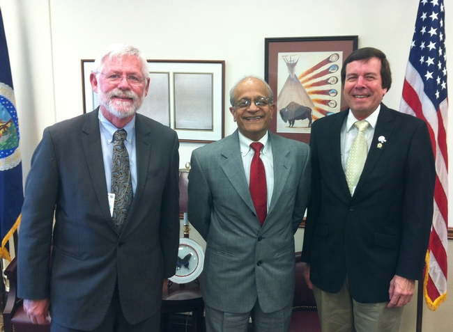 ESA vice president Frank Zalom (far right) of UC Davis with ESA president Robert Wiedenmann (far left) of the University of Arkansas, and Sonny Ramaswamy, director of the USDA's National Institute of Food and Agriculture (NIFA). (Photo courtesy of ESA)