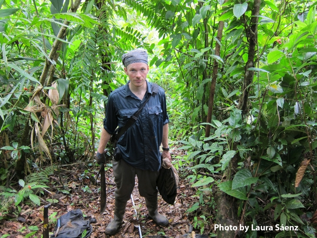 Michael Branstetter at Reserva Nacional Kahka Creek, Nicaragua. He is in the process of doing a transect of mini Winkler samples.  (Photo by Laura Sáenz)