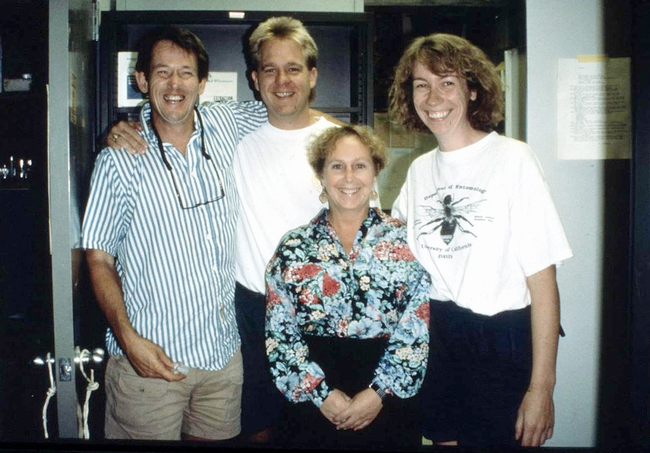 Kelli Hoover (front center) received her doctorate from the UC Davis Department of Entomology in 1997. She's shown here in 1993 with (from left) major prin 19ofessor Sean Duffey (1943-1997), Billy McCutchen and Bryony Bonning. (Courtesy Photo)