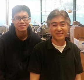 Sing Lee (left), postdoctoral fellow, and Sung Hee Hwang, assistant project scientist, of the Hammock lab.
