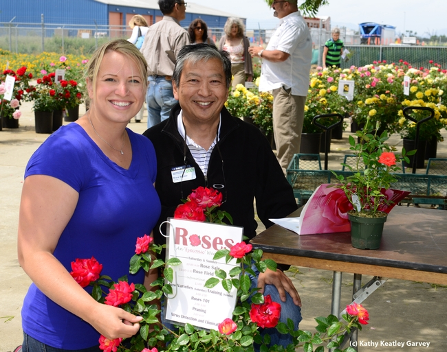 Dave Fujino, executive director of the California Center for Urban Horticulture with Missy Gable, newly selected statewide director of the UC Master Gardener Program. (Photo by Kathy Keatley Garvey)