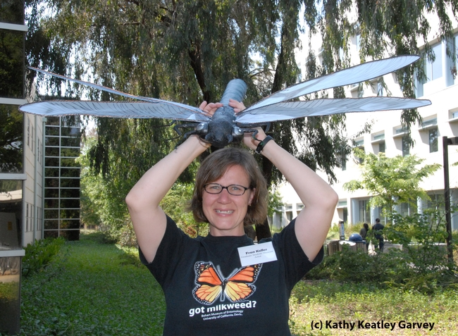 Fran Keller is a big fan of all things insects. She designed the monarch t-shirt. (Photo by Kathy Keatley Garvey)
