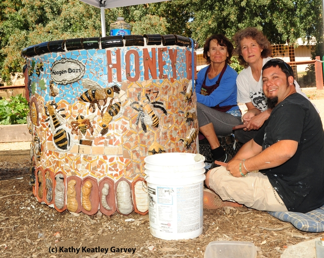 Artists Donna Billick, Diane Ullman and Mark Rivera. (Photo by Kathy Keatley Garvey)