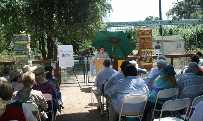 California state DAR regent Debbie Jamison addresses the crowd. (UC Davis photo by Chris Akins)