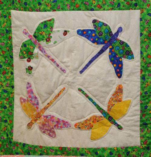 DRAGONFLY QUILT, on display at the 134th annual Dixon May Fair, May 7-10, is the work of Lillian Walker of Antioch. This show a small section. (Photo by Kathy Keatley Garvey)