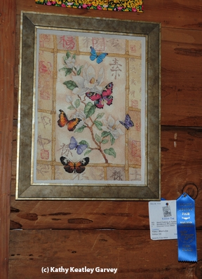 Yoko Warncke of Vallejo crated this butterfly cross-stich. (Photo by Kathy Keatley Garvey